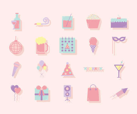 set of party icons on pastel colorbackground vector illustration design
