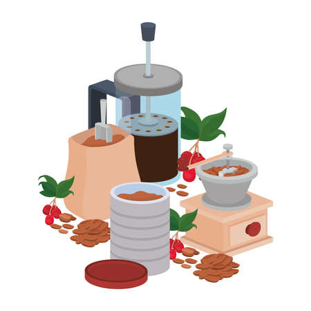sets of items for cooking and drinking coffee vector illustration design