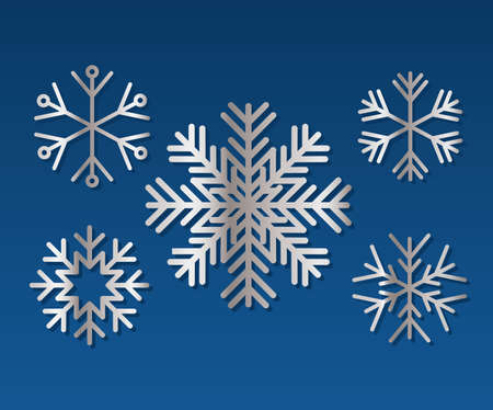 set of snowflakes of color light gray vector illustration design
