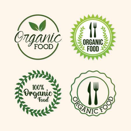 bundle of organic food lettering vector illustration design