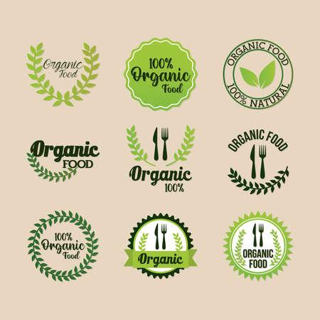 set of organic food lettering on light color background vector illustration design