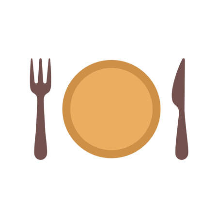 yellow plate with knife and fork on the sides vector illustration design