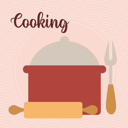 cooking letering with cooking pot, fork and kneader illustration design