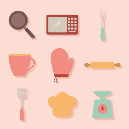set of cooking icons on a pink background vector illustration design