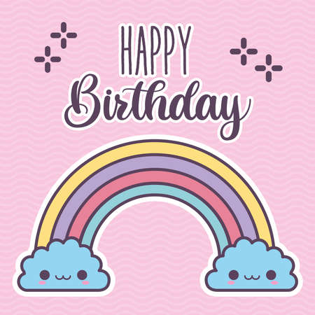 happy birthday lettering and rainbow with two blue clouds smilings vector illustration design
