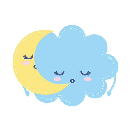 moon and cloud sleeping on white background vector illustration design