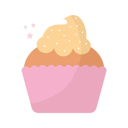 cupcake topped with yellow frosting vector illustration design