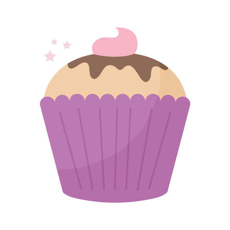 cupcake topped with pink frosting with a white background vector illustration design
