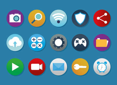 set of apps icons on a blue background vector illustration design