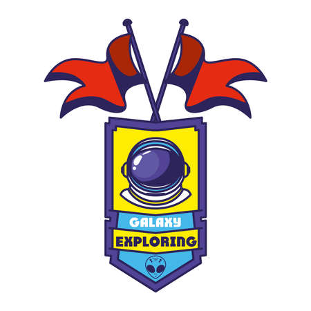badge with astronaut helmet in it and two flag vector illustration design