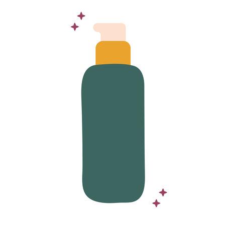 organic green locion bottle with sparks vector illustration design