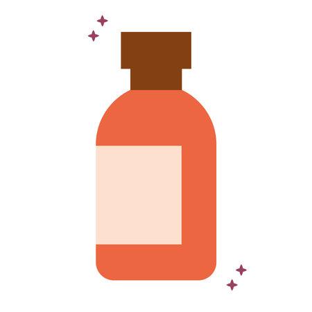 organic orange locion bottle with sparks vector illustration design