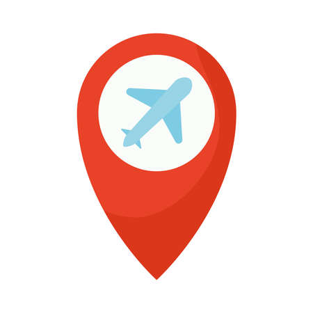 location mark with one airplane icon in it vector illustration design