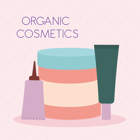 organic cosmetic lettering with a bundle of organic cosmetic icons on a pink background vector illustration design Ilustración de vector