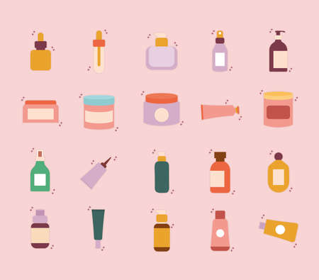 set of organic cosmetic icons on a pink background vector illustration design