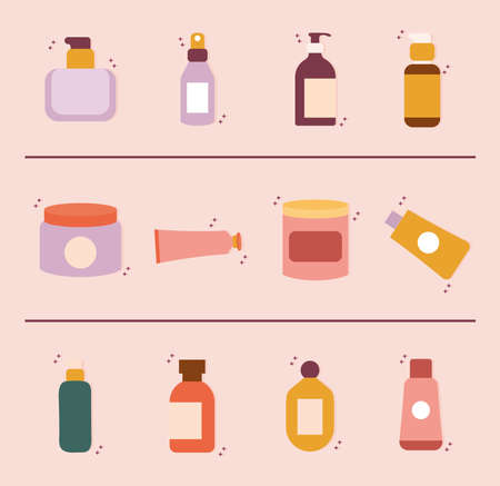 set of organic cosmetic icons vector illustration design Ilustración de vector