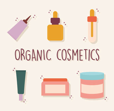 organic cosmetic lettering with a set of organic cosmetic icons vector illustration design