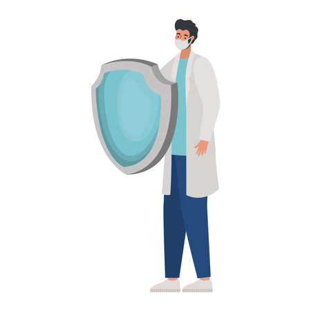 male doctor with one safety mask one and one shield vector illustration design