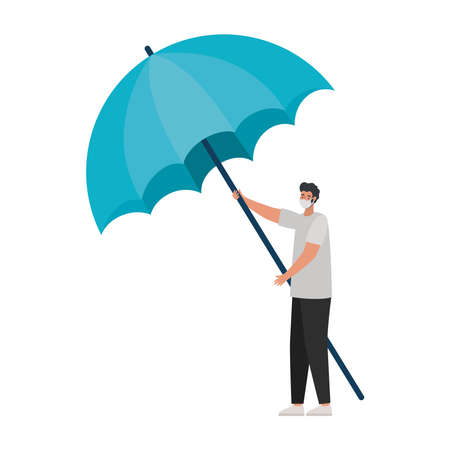 man with one safety mask and one umbrella on a white background vector illustration design
