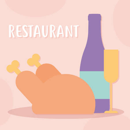 restaurant lettering with a plate with wine and turkey vector illustration design