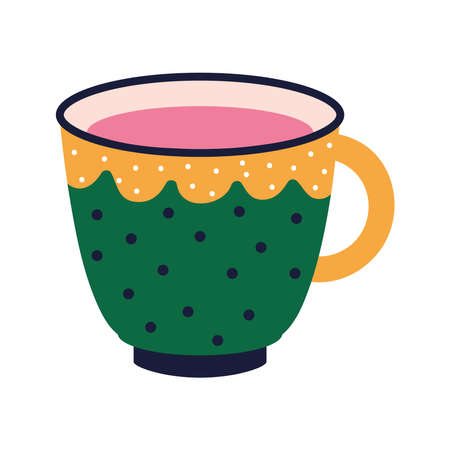 cup of tea with a green color and dots vector illustration design