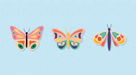 set of hand drawn butterflies vector illustration design Ilustrace