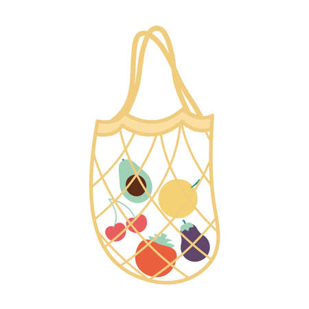mesh bag with a fruits inside of it and yellow color vector illustration design 向量圖像