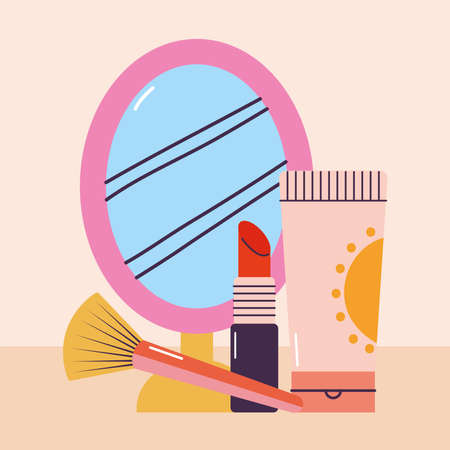 bundle of makeup icons on a pink background vector illustration design
