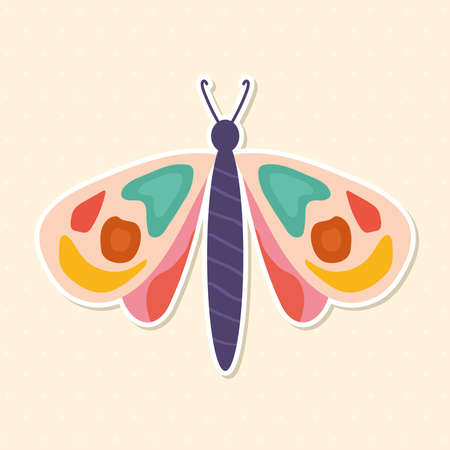 hand drawn butterfly in a beige background vector illustration design Ilustrace