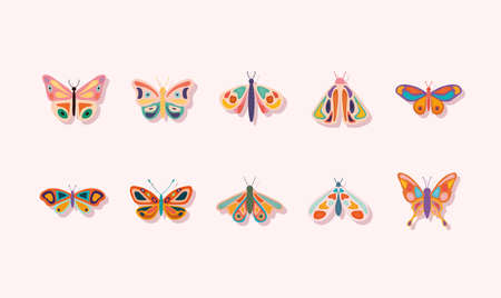 bundle of hand drawn butterflies vector illustration design Ilustrace