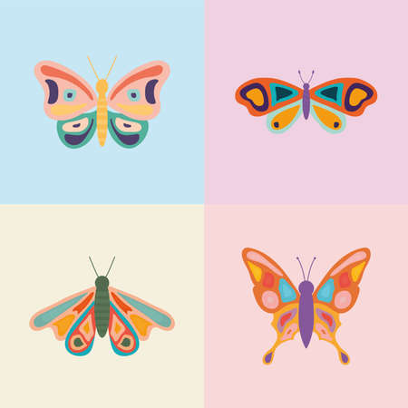 set of four hand drawn butterflies vector illustration design Ilustrace