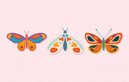 set of hand drawn butterflies on a pink background vector illustration design