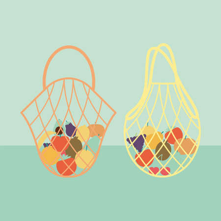 set of two eco bags with a fruits inside of it vector illustration design