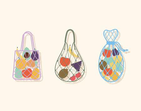 set of three eco bags with a fruits inside of it vector illustration design