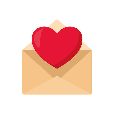 envelope with one card and one heart coming out of it vector illustration design