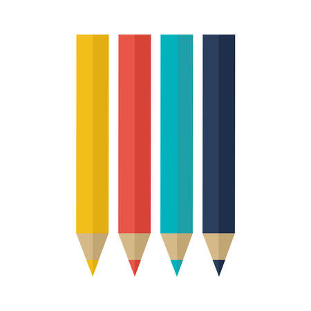 colored pencils on a white background vector illustration design