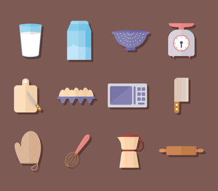 set of kitchenware icons on a brown background vector illustration design