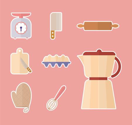 set of kitchenware icons on a pink background vector illustration design