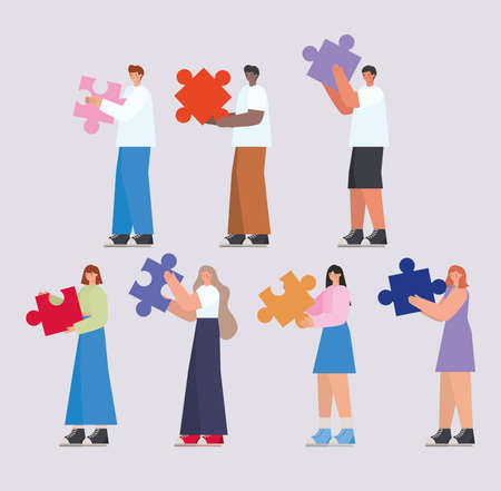 group of people with puzzle pieces vector illustration design