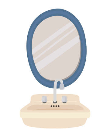 sink and mirror on a white background vector illustration design