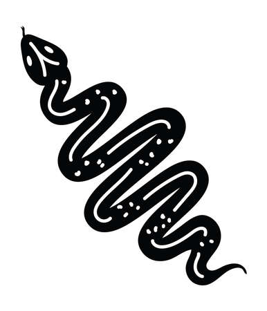 minimalist tattoo of a snake in a white background vector illustration design