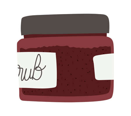 facial scrub for skin care in a brown bottle vector illustration design