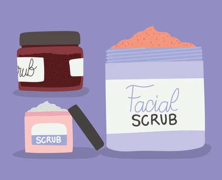 set of facial scrub for skin care vector illustration design Иллюстрация