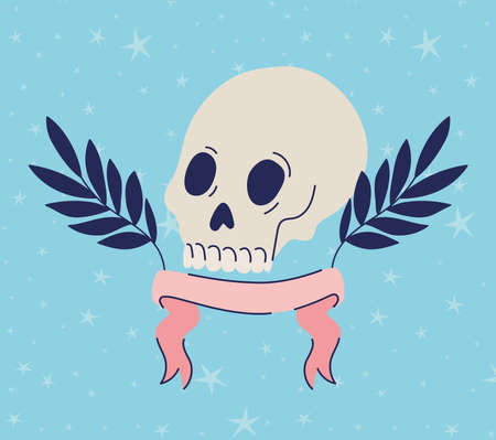 skull with feathers and one ribbon vector illustration design