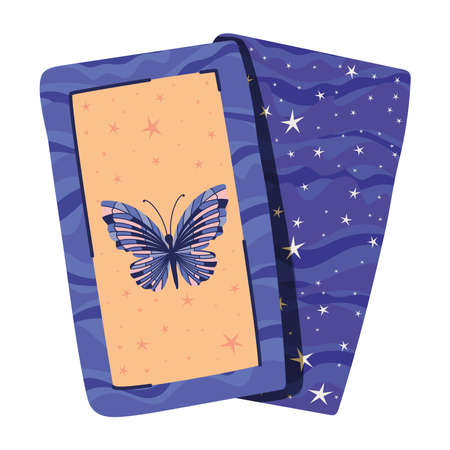 esoteric cards with one butterfly vector illustration design