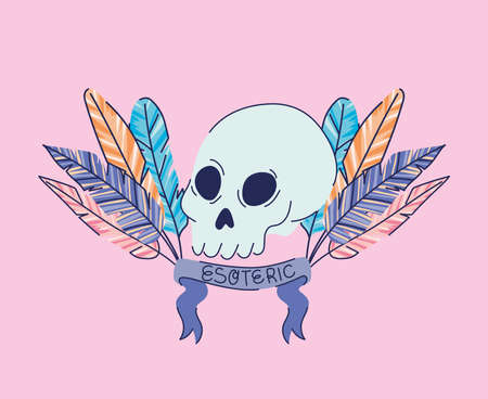 skull with feathers and esoteric lettering on a ribbon vector illustration design