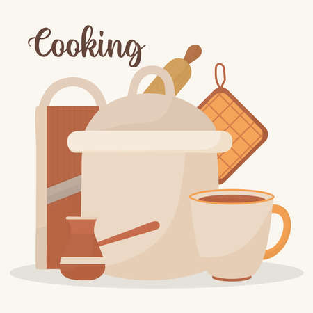 poster with cooking equipments icons