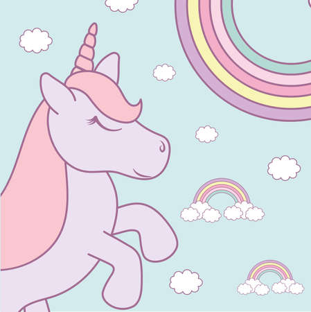 baby unicorn and rainbows set