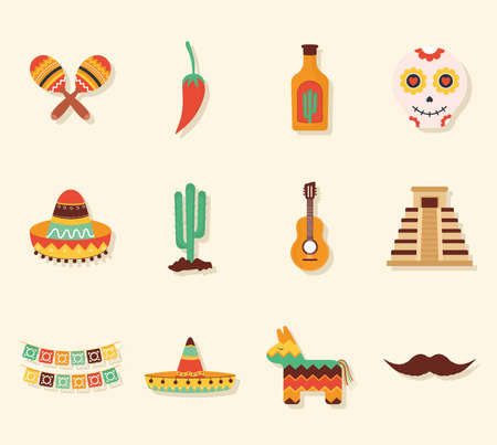 set of twelve mexican icons