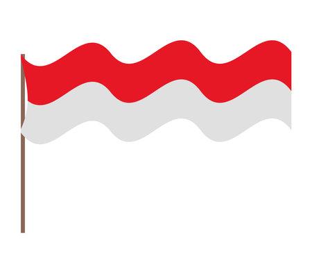 waved indonesia flag